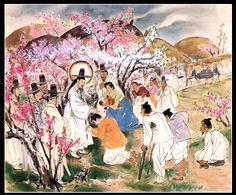 Artist Ki-Chang Kim :  Famous Painting Series 4.   upper) Jesus Christ heals the sick , painted on silk, 1952~1953 #koreanjesus