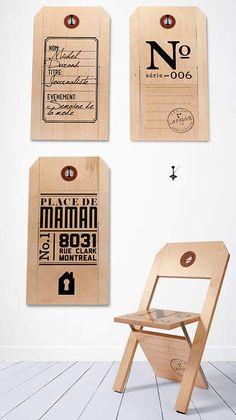 """""""Label Chair"""" von La Firme aus Kanada: Klappstuhl und Wandschmuck in einem."""