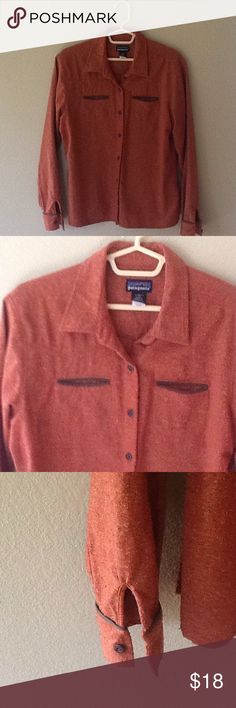 Patagonia wool shirt This warm Patagonia shirt is great for cooler days. There is some pilling on the cuffs and hem, but it is still on great condition! Patagonia Tops Button Down Shirts