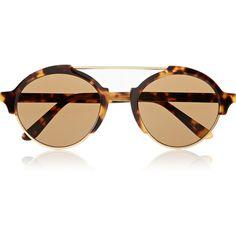 Illesteva Milan III round-frame acetate sunglasses, Women's ($385) found on Polyvore featuring accessories, eyewear, sunglasses, retro sunglasses, tortoise shell aviator sunglasses, tortoiseshell sunglasses, aviator sunglasses and round sunglasses
