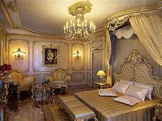 Victorian style bedroom. I like the moulding on the walls. Might do something like that but simpler.