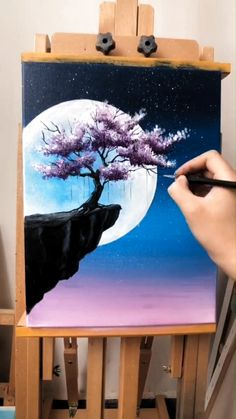 Cute Canvas Paintings, Canvas Painting Tutorials, Small Canvas Art, Diy Canvas Art, Acrylic Painting Canvas, Painting Techniques, Moon Painting, Galaxy Painting, Diy Painting