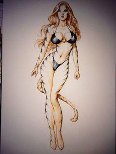Tigra watercolor Comic Art