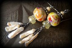 Lamp Work Glass Biwa Pearl Stick Pearl Chalcedony by YuccaBloom