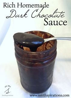 This chocolate sauce is so yummy and so easy to make! We don't buy chocolate sauce anymore because this is just too perfect. Yum! Rich Homemade Dark Chocolate Sauce