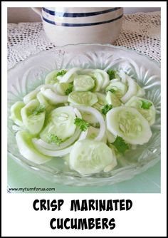 Sliced cucumbers in
