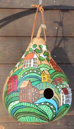 Folk Art Farm Gourd Birdhouse Handpainted garden by Gourdament