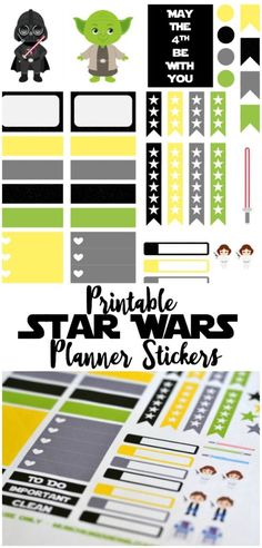 Free Star Wars themed printable planner stickers for your Erin Condren Life Planner