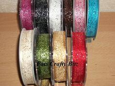 2m Berisfords Random Glitter Ribbon 15mm Various Colours
