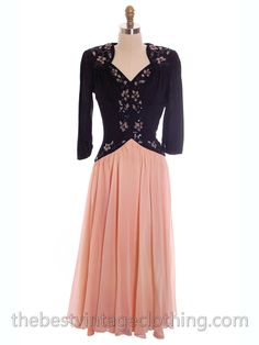 Lovely Vintage 1940s Evening Dress Pink & Black Sequinned Bodice 34-26 – The Best Vintage Clothing