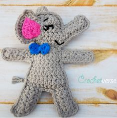This quick and easy elephant ragdoll crochet pattern will help you add to your amigurumi zoo! All the kids in your life will love this precious pachyderm made with super soft blanket yarn! Crochet Gratis, All Free Crochet, Cute Crochet, Easy Crochet, Crochet Baby, Amigurumi Free, Crochet Patterns Amigurumi, Crochet Dolls, Crochet Elephant Pattern Free