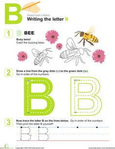Preschool Letters Fine Motor Skills Handwriting Worksheets: B is for Bees! Practice Writing the Letter B Letter B Worksheets, Handwriting Practice Worksheets, Free Printable Worksheets, Preschool Worksheets, Learning To Write, Learning The Alphabet, Alphabet Tracing, Teaching Reading, Preschool Letter B