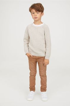 Textured-knit sweater in cotton with ribbing at neckline, cuffs, and hem. Kids Clothes Boys, Toddler Boy Outfits, Toddler Boys, Kids Outfits, Cute Outfits, Fashion Kids, Young Boys Fashion, Baby Boy Fashion, Khaki Pants Outfit