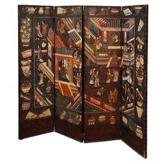 Beau phénix mythique chinois peinture décorative 6 paravent