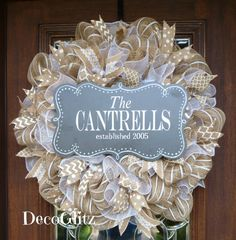 Burlap and White Wreath with CHALKBOARD FAMILY SIGN by decoglitz