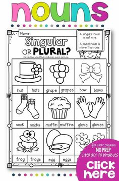 Teach your students all about nouns with this NO PREP printables pack for your… Plural Nouns Worksheet, Plurals Worksheets, Singular And Plural Nouns, Nouns And Verbs, 1st Grade Worksheets, Nouns First Grade, Grade 1, Nouns Kindergarten, Ingles Kids