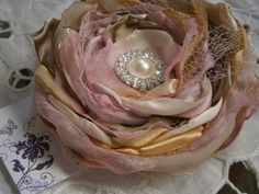 Fabric flower in pink ivory cream with rhinestone by Flowears, $17.20