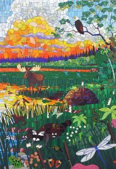 """Wetlands"" - panel 4 of 4 Paper packaging mosaic 48""w x 72""h T. Denny Sanford Pediatrics Center at The Mayo Clinic - Rochester, MN Michael Sweere -"