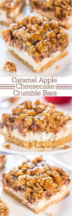 Caramel Apple Cheesecake Bars (with Crumble Topping!) - Averie Cooks Caramel Apple Cheesecake Crumble Bars - Move over apple pie! These are an apple pie, apple crumble and cheesecake all in one! Caramel Apple Cheesecake Bars, Cheesecake Recipes, Dessert Recipes, Cheesecake Pie, Turtle Cheesecake, Dinner Recipes, Kabob Recipes, Fondue Recipes, Bar Recipes
