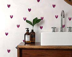Heart Wallpaper/ Removable Wallpaper/ Self-adhesive Wallpaper / Little heart Pattern Wall Covering - 149