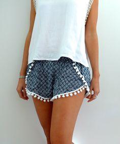 Pom Pom Shorts Navy & White Daisy Print with White by ljcdesignss