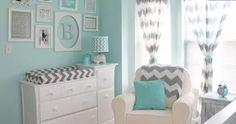 'Ojore's Aqua and Gray Chevron Nursery - Collage wall - elegant decor' I really wouldn't mind having this as my room:) Grey Chevron Nursery, Nursery Neutral, Gray Chevron, Aqua Nursery, Nursery Colours, White Nursery, Tiffany Blue Nursery, Chevron Bathroom, Turquoise Nursery