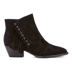 Ash Women's Lenny Suede Tassle Ankle Boots (£175) ❤ liked on Polyvore featuring shoes, boots, ankle booties, black, black suede bootie, suede ankle boots, black boots, flat black booties and pointed-toe ankle boots