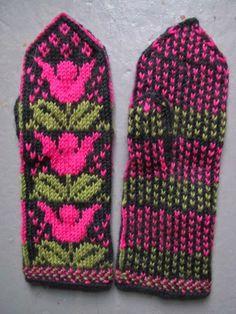 Tulppaani-lapaset Fair Isle Knitting, Tulips, Knit Crochet, Gloves, Accessories, Inspiration, Knits, Style, Socks
