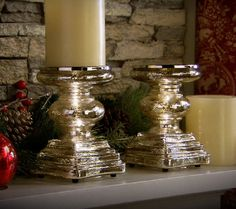 As Is Set of 2 Mercury Glass Square Pedestals by Valerie