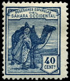 """1924 Scott 3 turquoise blue """"Tuareg and Camel"""" Quick History Spanish Sahara or Spanish Western Sahara, as it was formerly known, . Old Stamps, Rare Stamps, Vintage Stamps, Camelus, Postage Stamp Design, Postage Stamp Collection, Mail Art, Stamp Collecting, Vintage Posters"""