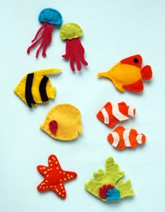 Felt & Embroidered Ocean Critters- Use these to Embellish Absolutely Anything! Also they'd make Great Fridge Magnets- simply glue Magnets to the back (my kids would vote on that one!!)