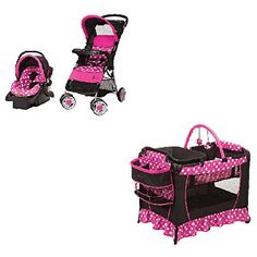 Disney Baby Gear Stroller And Travel System Bundle With Stroller, Infant Car Seat, Musical Swing OR Playard Playpen With Bassinet And Diaper Changer (Disney Minnie Dot) Car Seat Accessories, Amazon Baby, Baby Diaper Bags, Buggy, Travel System, Playpen, Baby Needs, Baby Girl Gifts, Bebe