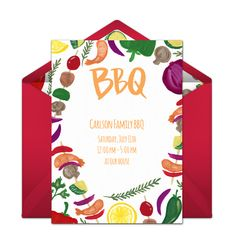 A whimsical cookout design makes this free Summer party invitation one of our faves. Bring on the BBQ! #handmade