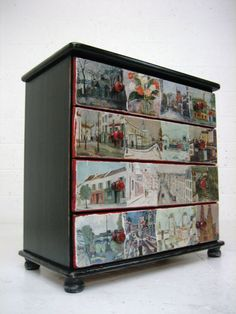 Vintage wooden chest of drawers painted black with red detail, and decoupage drawer fronts.   itsrebornstuffuk ebay