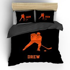Custom Personalized Duvet or Comforter Hockey Player by redbeauty