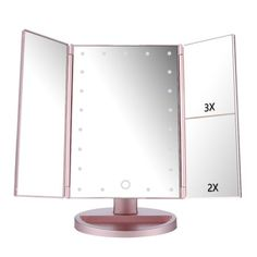 Tri Fold Vanity Mirror With Lights Bathroom Magnifying Mirror Wall Mount Gold Makeup Lighted 8 Inch Two