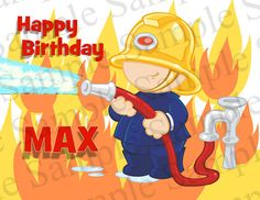 Firefighter Birthday Card Printable Fireman by CustomizableArt