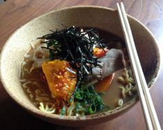 Vegetarian ramen recipe. Great with kombu broth, mushroom and beet green reduction, toasted sesame oil.