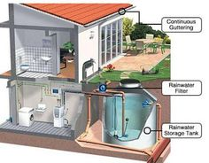 Downspout rainwater runs through a filter then is collected for laundry, bathroom and garden use. Graywater. Recycled water. Water conservation. Rainwater storage. Cistern.