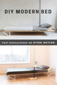 "This bed by Homemade Modern is made from a single 4 foot by 8 foot sheet of ¾"" thick plywood. See full plans to make this simple bed on RYOBI Nation."