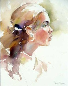 Janet Rogers Watercolor art of woman in profile.