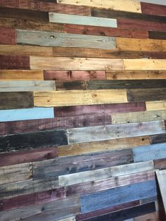 Did this pallet plank wall. 1 week project because I didn't buy the precut planks. This 1 wall required 10 pallets. Used only 4 different stains but mixed them up to try to make each one as unique as possible.