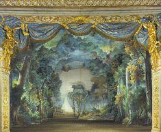 Estate; La mise en scène de la forêt dans le Théâtre de l'Opéra de Le Roi et le fermier.The Reine Marie-Antoinette & rsquo.  En 1780, Le Roi et le fermier par Pierre-Alexandre Monsigny a été réalisée par Marie-Antoinette et sa troupe à la & rsquo Reine; s Théâtre à Versailles.  Les décors originaux, le & ldquo; ensemble de la forêt & rdquo;  et le & ldquo; ensemble rustique & rdquo;  ont été conservés et sont utilisés dans les représentations du Roi et le Fermier à Versailles, mais cette…
