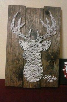 Deer Head String Art-add silk flowers as nod to girls' names. Nail String Art, String Crafts, Cadre Diy, Diy And Crafts, Arts And Crafts, Art Crafts, Resin Crafts, Arte Linear, String Art Patterns