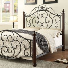 Benzara Lucia Transitional Style Bed, Black & Brown, Size Twin