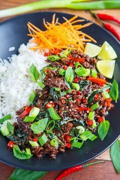 Thai Basil Beef With Ground Beef Shallots Red Pepper Garlic Chiles Fish Sauce Palm Sugar Lime Juice Basil Green Onions Meat Recipes, Asian Recipes, Chicken Recipes, Cooking Recipes, Healthy Recipes, Oven Recipes, Kabob Recipes, Fondue Recipes, Cooking Bacon