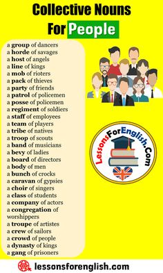 Collective Nouns For People, Collective Nouns List a group of dancers a horde of. - Collective Nouns - Collective Nouns For People, Collective Nouns List a group of dancers a horde of savages a host of - Good Vocabulary, English Vocabulary Words, English Phrases, Learn English Words, English Learning Spoken, Teaching English Grammar, English Language Learning, Essay Writing Skills, English Writing Skills