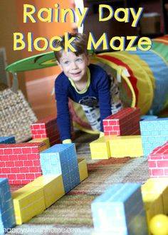 Rainy Day Block Maze Activity for Kids!