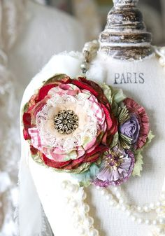 Fabric Flower Brooch - Red and Violet Blossoms