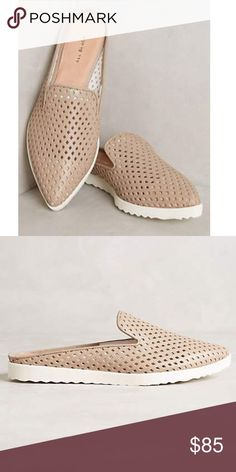 Perforated Leather Slip on Mule Slides Espadrille I loved these slides for their versatile casual styling that will go with dresses, skirts, and later in the spring/summer for more casual outfits - jeans, shorts. They run true to size, and are very comfortable for a stylish, easy look, they are perfect Plus they look casual but still polished - very flattering! Sporty-soled slip-ons with an airy outlook from All Black X Anthropologie  Fits true to size Leather upper, insole Rubber sole…